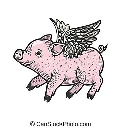 Angel flying baby little piggy color sketch engraving vector illustration. Scratch board style imitation. Black and white hand drawn image.