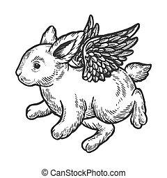 Angel flying baby little rabbit bunny engraving vector...