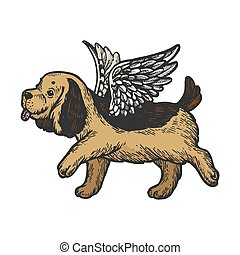 Angel flying dog puppy color sketch engraving vector illustration. Scratch board style imitation. Black and white hand drawn image.