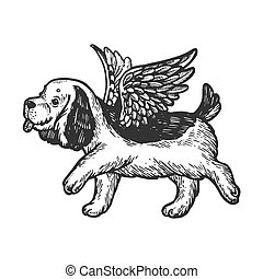 Angel flying dog puppy engraving vector illustration. Scratch board style imitation. Black and white hand drawn image.