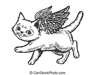Angel flying kitten engraving vector illustration. Scratch...