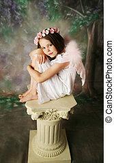 Angel Girl - Beautiful young girl wearing pink angel wings...