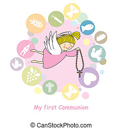 Angel girl flying - flying angel.  communion card