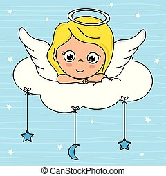 Angel girl on top of a cloud