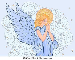 Angel girl with wings, cross, roses and halo. Isolated hand drawn vector illustration. Trendy Vintage style element.