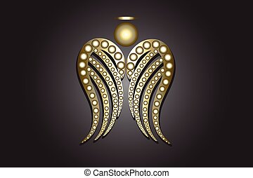 Angel gold wings ornament logo vector