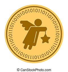 Angel golden digital coin icon. Vector style. gold yellow flat coin cryptocurrency symbol. isolated on white. eps 10