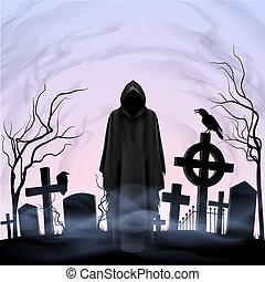 angel halálosan, alatt, a, temető