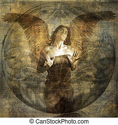 Angel heart - Angel with open hearted gesture. Photo based ...