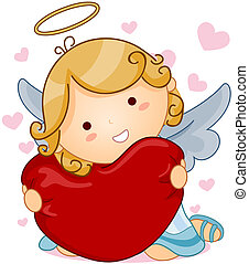 Angel Heart - Cute Angel hugging Heart with Clipping Path