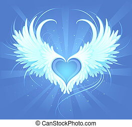 Angel Heart - Blue heart of an angel with painted art,...