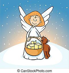 angel hold basket on snowy background - vector illustration