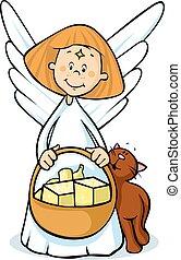 angel hold basket - vector illustration