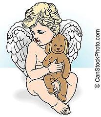 Angel Holding Stuffed Animal - Illustration, Vector