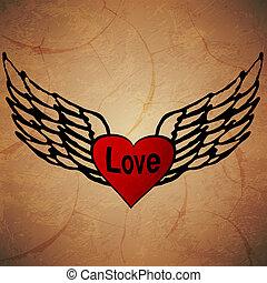 angel icon. retro background.