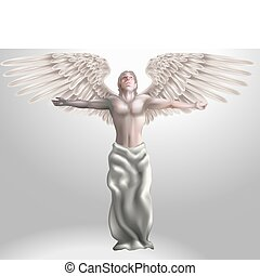 Angel Illustration - Illustration of angel with arms...