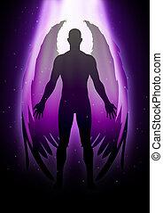 Illustration of an angel figure