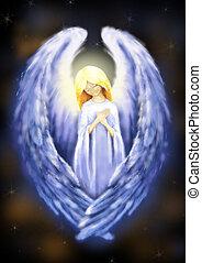 Angel - Illustration of beautiful, bright angel on dark...