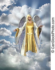 Angel in Sky - 3D render of an Angel in the sky. Sky and...