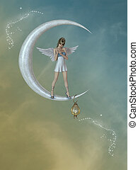 Angel in the moon