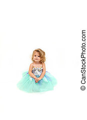 Angel in Tutu - Beautiful little girl wears a ballerina...