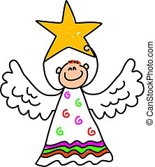 angel kid - happy little boy dressed up as an angel and...
