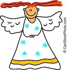 angel kid - happy little girl dressed as an angel for the...
