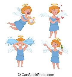 Angel kid with angelic wings having halo holding harp