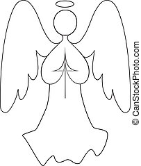 A vector line drawing of an angel with wings spread, hands together in prayer, holding a cross.