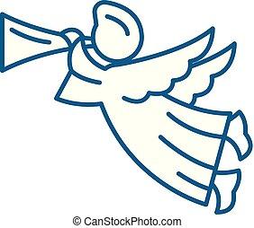 Angel line icon concept. Angel flat  vector symbol, sign, outline illustration.
