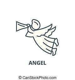 Angel line icon, vector. Angel outline sign, concept symbol, flat illustration