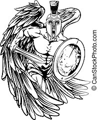 Angel mascot - An illustration of a warrior angel character ...