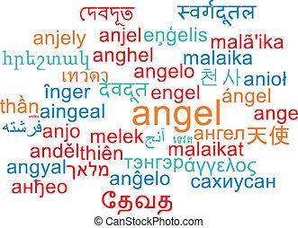 Angel multilanguage wordcloud background concept