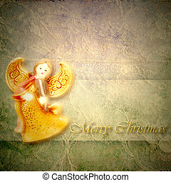 Angel musician Christmas greeting card