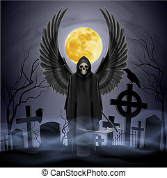 Angel of death. - Angel of death on the night cemetery.