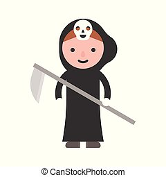 angel of death, children in Halloween costume, flat design