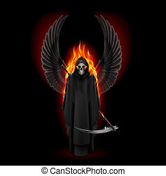 Angel of death - Grim Reaper with two wings up in orange...