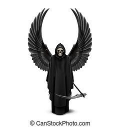 Angel of death with two wings up and a scythe in his hands.