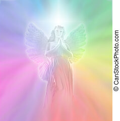 Soft rainbow background with a transparent angel form and white light cross behind