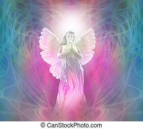 Vision of an Angel with light behind head on a swirling energy background