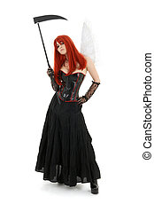 angel of doom - lovely redhead with angel wings and scythe