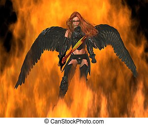 Fire Angel with a golden sword walking through flames, 3d digitally rendered illustration