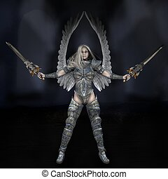 Angel of Light - Armoured female angel against a dark...