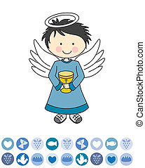 Angel on a cloud - Boy first communion.  Angel on a cloud