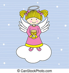 Angel on a cloud - Girl first communion. Angel on a cloud
