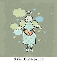 Angel on a cloud with heart