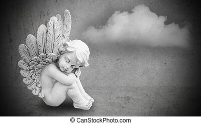 angel on gray background