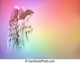 Angel on rainbow background - Guardian Angel on rainbow ...