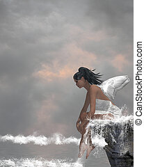 Angel On Water - Angel sitting on a ledge waterfall in the...