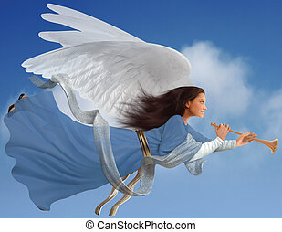 Angel on white - Angel with trumpet on isolated on white...